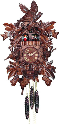 River City Clocks MD487-18 One Day Musical Cuckoo Clock with Hand-carved Birds, Leaves, and Chicks in Nest - Peazz.com