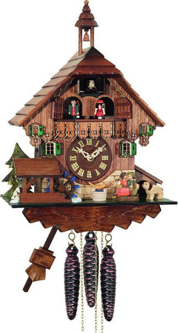 River City Clocks MD498-14 One Day Musical Cuckoo Clock Cottage - Boy and Girl Kiss, Waterwheel Turns - Peazz.com