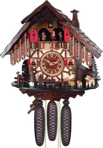 River City Clocks MD814-14 Eight Day Musical Cuckoo Clock Cottage with Beer Drinker and Moving Waterwheel - Peazz.com