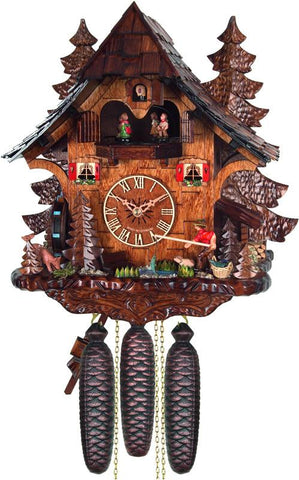 River City Clocks MD816-14 Eight Day Musical Cuckoo Clock Cottage - Fisherman Raises Pole and Moving Waterwheel - Peazz.com