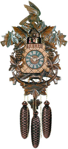 River City Clocks MD823-18 Eight Day Musical Cuckoo Clock - Aesop's Fable Theme - Fox & Grapes - Peazz.com