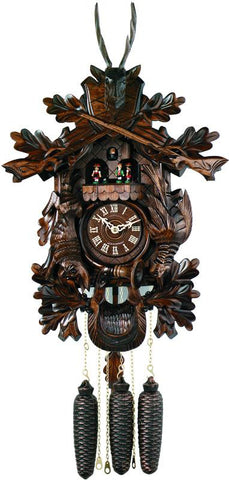 River City Clocks MD847-21 Eight Day Musical Hunter's Cuckoo Clock with Dancers - Hand-carved Dead Animals, Leaves, and Buck - Peazz.com