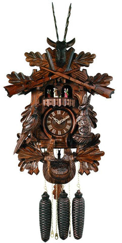 River City Clocks MD849-21 Eight Day Musical Hunter's Cuckoo Clock with Dancers - Hand-carved Live Animals, Leaves, and Buck - Peazz.com