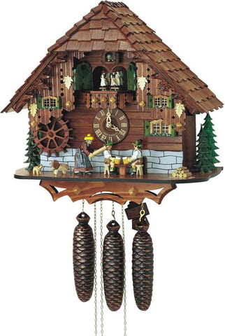 River City Clocks MD852-16 Eight Day Musical Cuckoo Clock - The Noodle Bruiser - Wife Strikes Beer Drinker Husband with Rolling Pin - Peazz.com