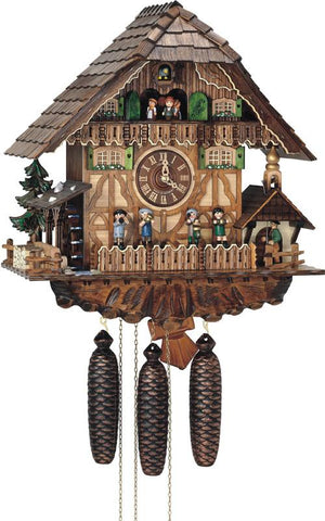 River City Clocks MD860-18 Eight Day Musical Cuckoo Clock Cottage - Moving Oompah Band and Waterwheel - Peazz.com