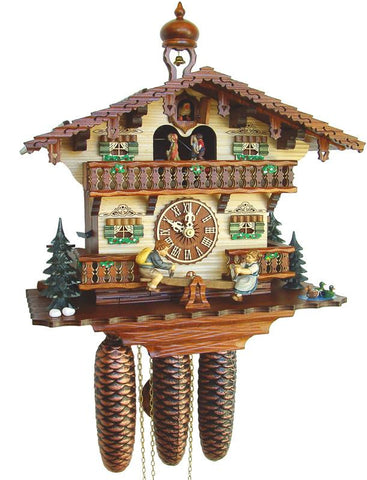 River City Clocks MD868-13 Eight Day Musical Cuckoo Clock Cottage with Boy and Girl on Seesaw - Peazz.com