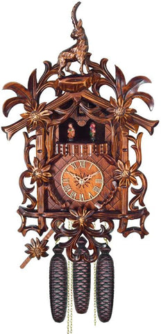 River City Clocks MD885-20 Eight Day Musical Cuckoo Clock with Hand-carved Flowers, Vines, and Billy Goat - Peazz.com