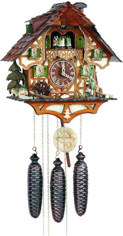 River City Clocks MD888-14 Eight Day Musical Cuckoo Clock with Hunter Moving with Binoculars and Waterwheel - Peazz.com