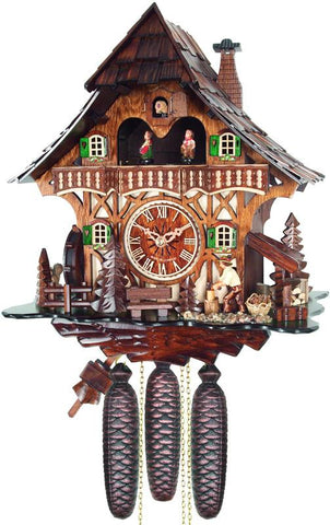 River City Clocks MD892-13 Eight Day Musical Cuckoo Clock Cottage with Woodchopper and Waterwheel - Peazz.com