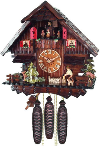 River City Clocks MD894-13 Eight Day Musical Cuckoo Clock Cottage with Man Chopping Wood and Moving Waterwheel - Peazz.com