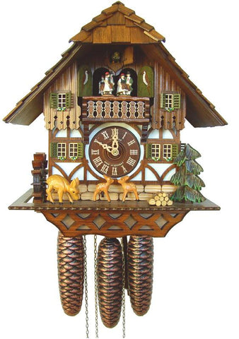 River City Clocks MD896-14 Eight Musical Cuckoo Clock Cottage with Jumping Deer and Moving Waterwheel - Peazz.com