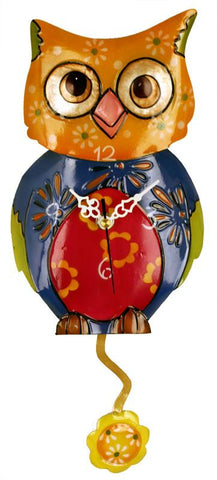 River City Clocks MOWL-15 Metal Multicolor Owl Clock with Flower Pendulum - Peazz.com