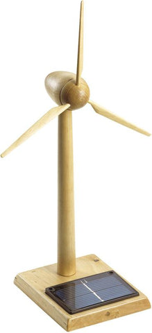 Wooden Solar-powered Wind Turbine - 14 Inches Tall - Peazz.com