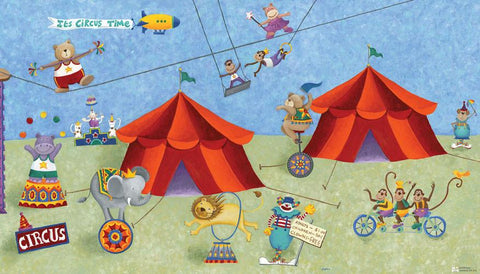 Big Top Circus Chair Rail Prepasted Mural 6' x 10.5' - Ultra-strippable  (JL1182M) - Peazz.com
