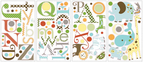 Animal Alphabet Peel & Stick Wall Decals (RMK1440SCS) - Peazz.com