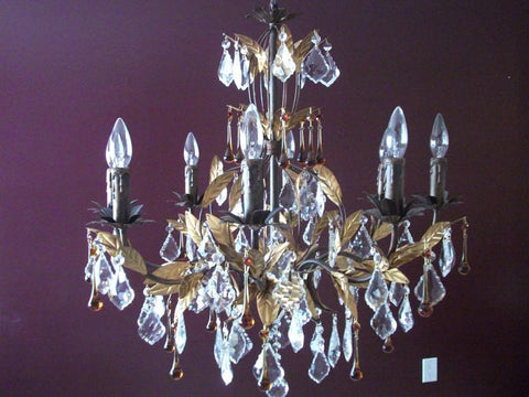 Raven 8 Light Chandelier With Clear And Brown Crystal Tears - Peazz.com