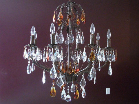 Alina 8 Light Chandelier With Clear And Brown Crystal Pendants - Peazz.com