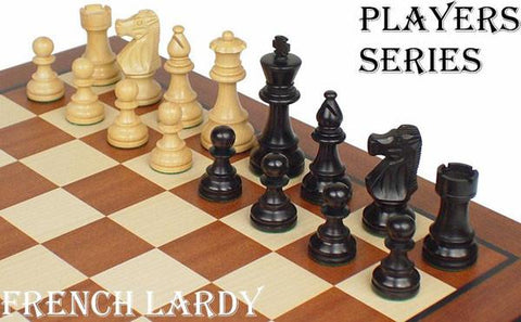"French Lardy Staunton Chess Set in Ebonized Boxwood & Boxwood - 3.25"" King - Peazz.com"