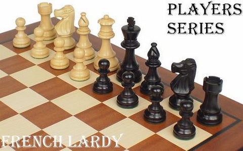 "French Lardy Staunton Chess Set in Ebonized Boxwood & Boxwood - 3.75"" King - Peazz.com"