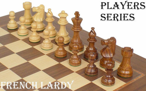 "French Lardy Staunton Chess Set in Golden Rosewood & Boxwood - 2.75"" King - Peazz.com"