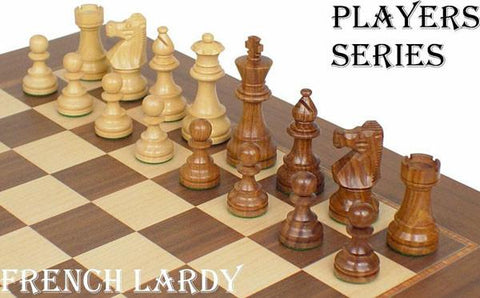 "French Lardy Staunton Chess Set in Golden Rosewood & Boxwood - 3.25"" King - Peazz.com"