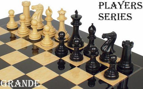 "Grande Staunton Chess Set in Ebony & Boxwood - 3"" King - Peazz.com"