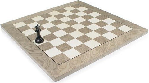 "Gray Ash Burl & Erable High Gloss Deluxe Chess Board - 2.125"" Squares - Peazz.com"