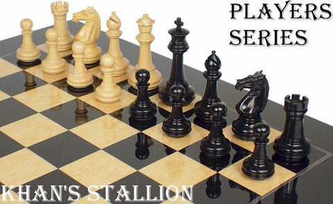 "Khan's Stallion Staunton Chess Set in Ebony & Boxwood - 4.125"" King - Peazz.com"