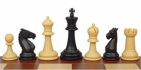 "Guardian Series Plastic Chess Set in Black & Camel - 4"" King - Peazz.com"