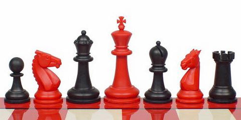 "Guardian Series Plastic Chess Set in Black & Red - 4"" King - Peazz.com"