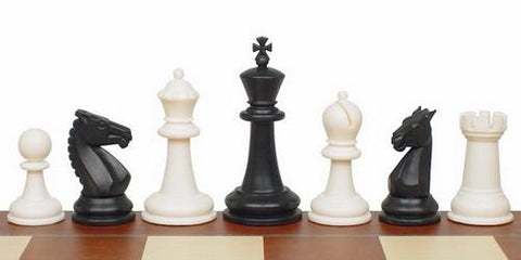 "Guardian Series Plastic Chess Set in Black & White - 4"" King - Peazz.com"