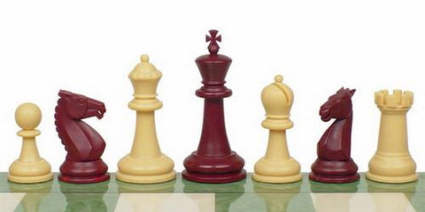 "Guardian Series Plastic Chess Set in Burgundy & Camel - 4"" King - Peazz.com"