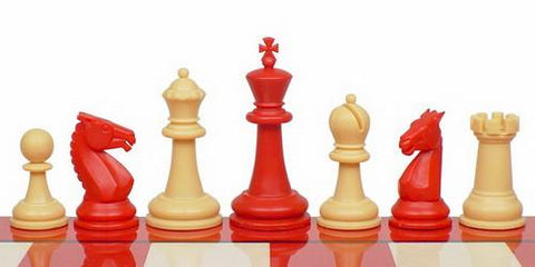 "Guardian Series Plastic Chess Set in Red & Camel - 4"" King - Peazz.com"