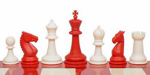 "Guardian Series Plastic Chess Set in Red & Ivory - 4"" King - Peazz.com"