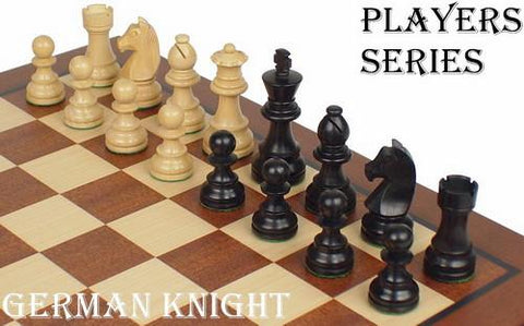 "German Staunton Chess Set in Ebonized Boxwood & Boxwood - 3.75"" King - Peazz.com"
