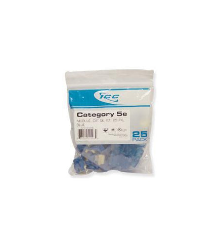 ICC ICC-CAT5JKPK-BL IC107E5CBL - 25PK Cat5 Jack - Blue - Peazz.com