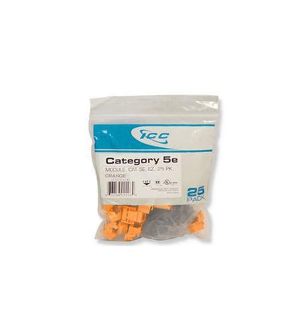 ICC ICC-CAT5JKPK-OR IC107E5COR - 25PK Cat5 Jack - Orange - Peazz.com