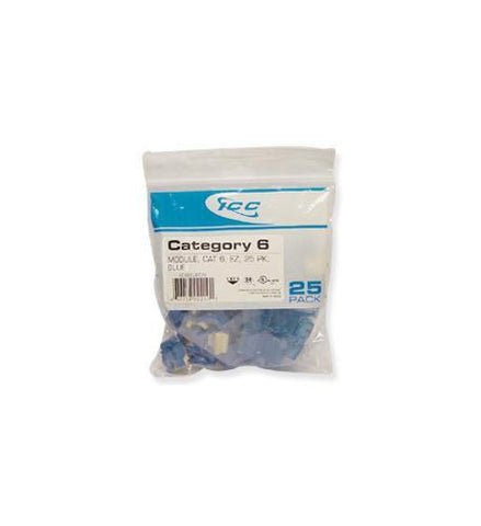 ICC ICC-CAT6JKPK-BL IC107L6CBL - 25PK Cat6 Jack - Blue - Peazz.com