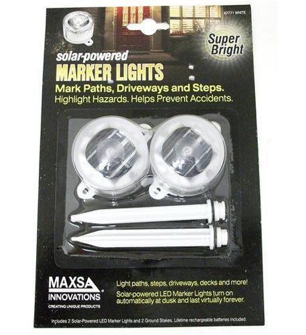 MAXSA Innovations MXS-47771 White Solar Marker Lights - 2 PK - Peazz.com