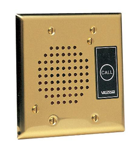 VALCOM VC-V-1072ABRASS Talkback Doorplate Speaker - Brass - Peazz.com