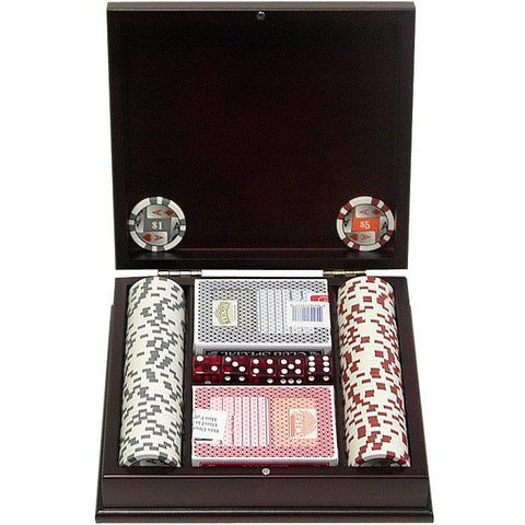 Trademark Commerce 10-1003-PC100 100 11.5G 4 Aces Poker Chip Set W/Beautiful Mahogany Case - Peazz.com