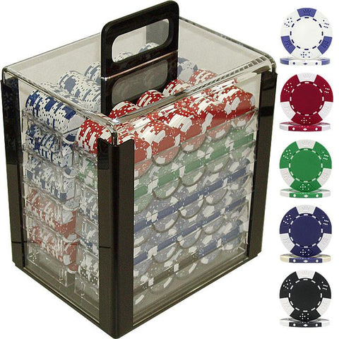 Trademark Commerce 10-1025-1CAR 1000 Pc Lucky Crown 11.5G Poker Chip Set In Acrylic Carrier - Peazz.com