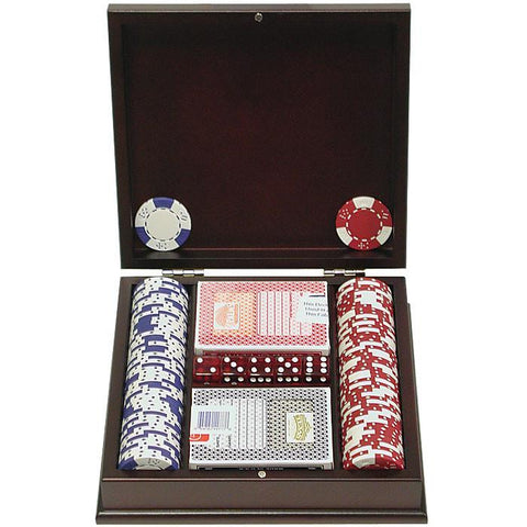 Trademark Commerce 10-1025-pc100 100 Pc Lucky Crown 11.5G Poker Chip Set W/Mahogany Case - Peazz.com