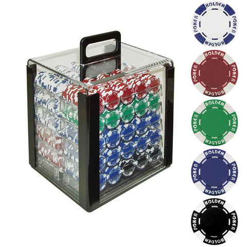 Trademark Commerce 10-1055-1CAR 1000 11.5G Holdem Poker Chip Set W/Acrylic Carrier - Peazz.com