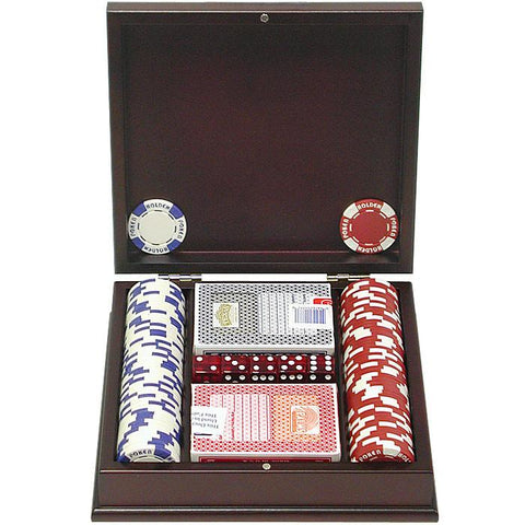 Trademark Commerce 10-1055-pc100 100 11.5G Holdem Poker Chip Set W/Beautiful Mahogany Case - Peazz.com