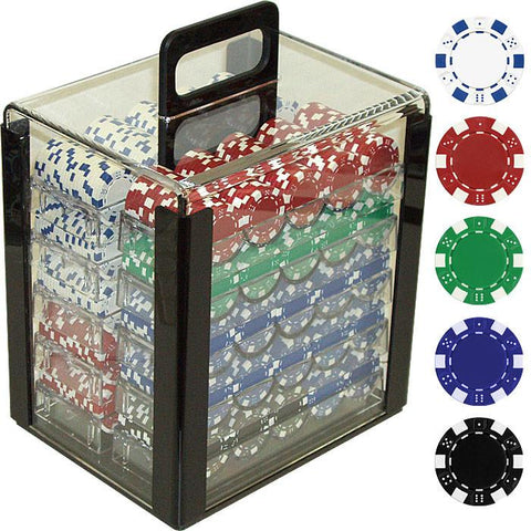Trademark Commerce 10-1090-1CAR 1000 11.5 Gram Dice-Striped Poker Chips In Acrylic Carrier - Peazz.com