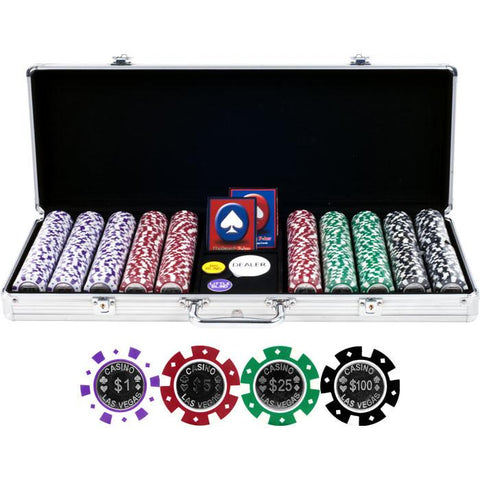 Trademark Commerce 10-1100-5001S 500 Casino Las Vegas 12G Coin Inlay Chips W/ Aluminum Case - Peazz.com