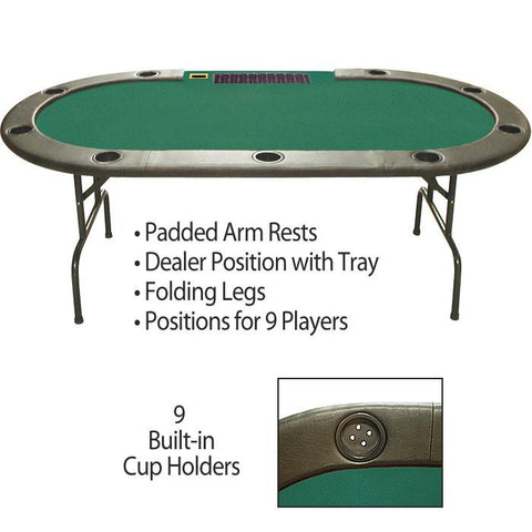 Trademark Commerce 10-110TP 96 Inch Hold'em Table with Dealer Position - Peazz.com