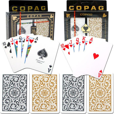 "Trademark Commerce 10-1546R-2 Copaga""C Poker & Bridge Regular Index - 1546 Black*Gold Set - Peazz.com"