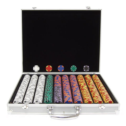 Trademark Commerce 10-1850-1ks 1000 14G Tri Color Ace/King Suited Chips In Aluminum Case - Peazz.com
